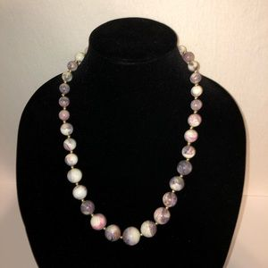Jewelry - Chunky White & Lavender Bead Necklace 24""